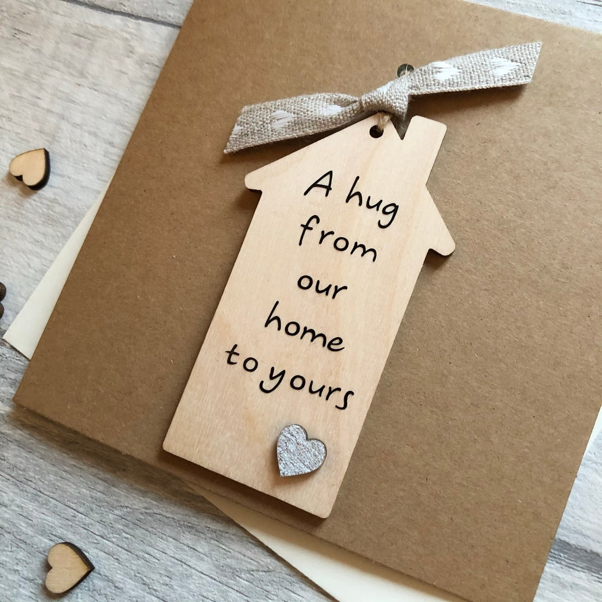 Image of A hug from our home to yours hanging Card/decoration