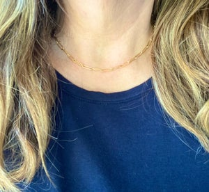 Gold Filled Paperclip Chain Necklace