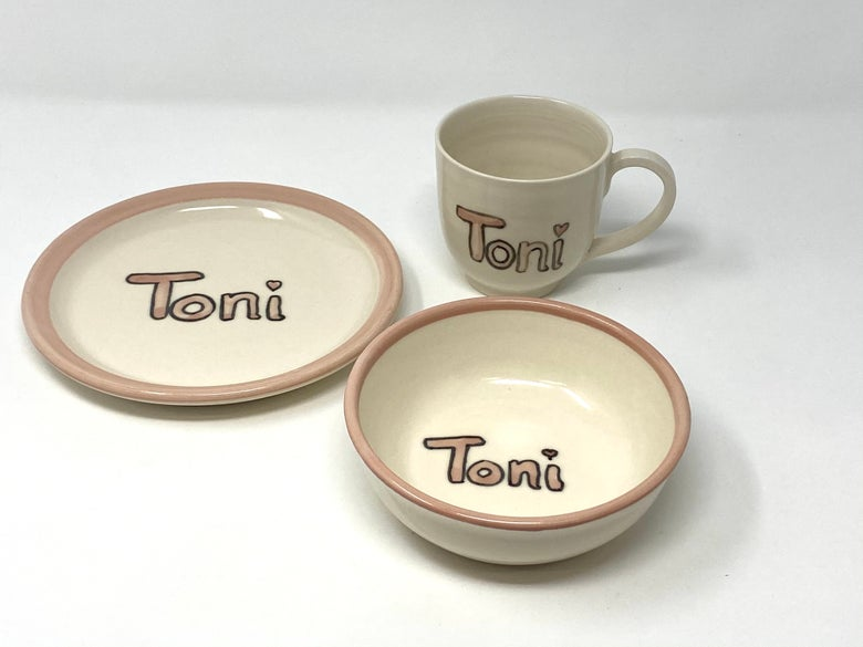 Image of Personalised Child's Mug, Bowl and Plate set