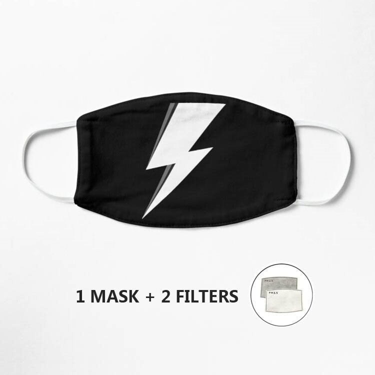 Lightning Bolt Style face Covering (Including 2 Filters)