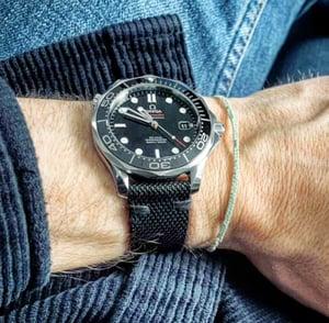 Image of Black Ballistic Canvas distressed watch strap