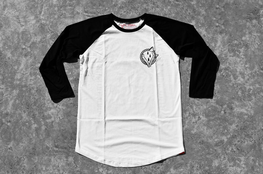 "Image of ""In Vino Veritas"" 3/4 Black Baseball T-Shirt"