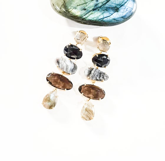 Image of Labradorite, Onyx, Drusy and Smoky Quartz Statement Earrings