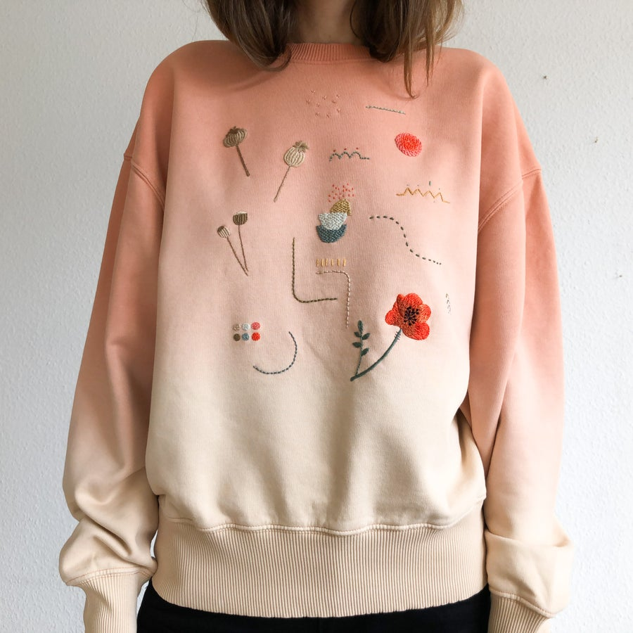 Image of Sunset over the Poppy Field - hand embroidered organic cotton hoodie, Unisex, one of a kind