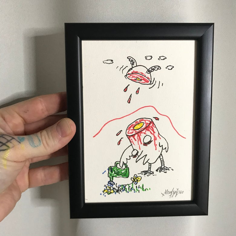 Image of Bye Bye Brain (Original Drawing w/frame)