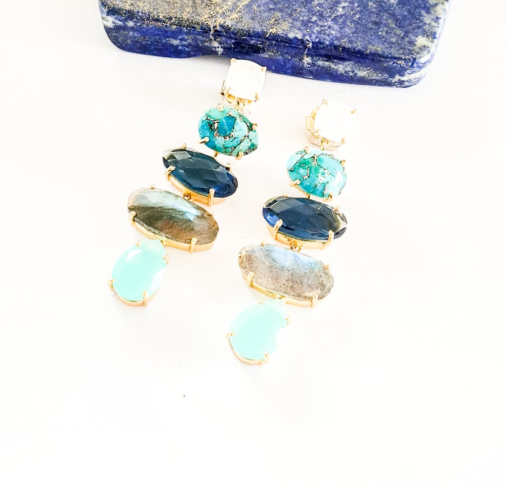 Image of Moonstone, Turquoise, Iolite, Labradorite and Aqua Onyx Statement Earrings