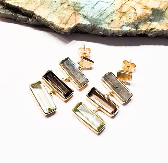 Image of Labradorite, Smoky Quartz and Hydro Green Amethyst Earrings