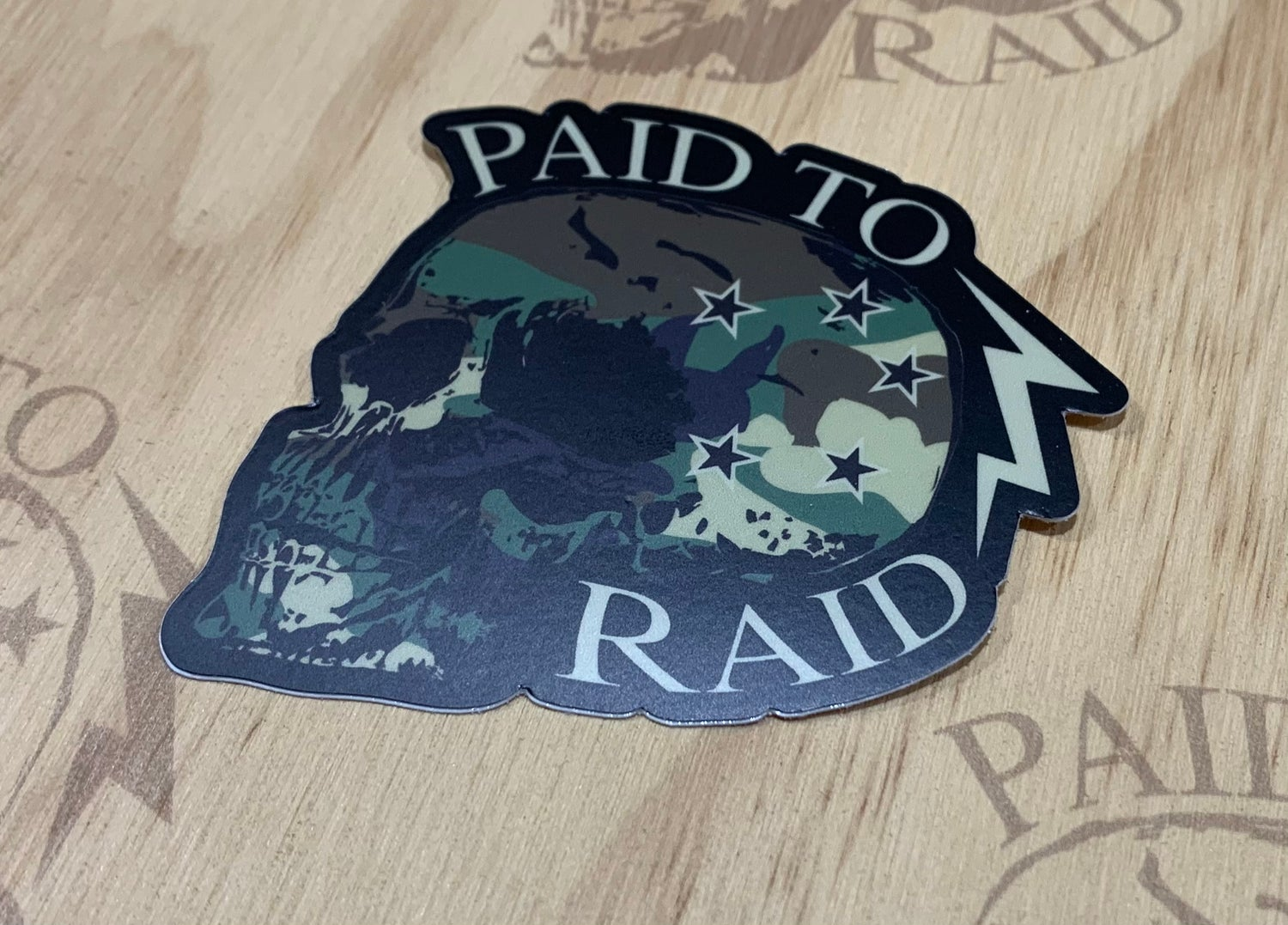 Image of Paid to Raid Skull Decal