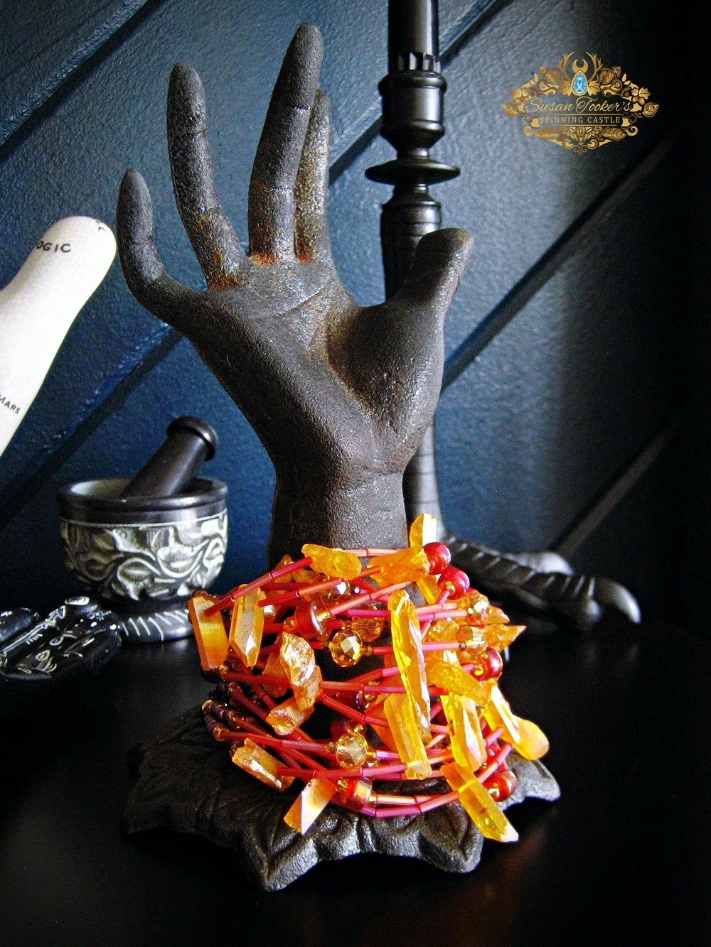 Image of CALLIOPE - Imperial Gold Aura Quartz Bracelet Cuff Statement Jewelry Greek Goddess Collection