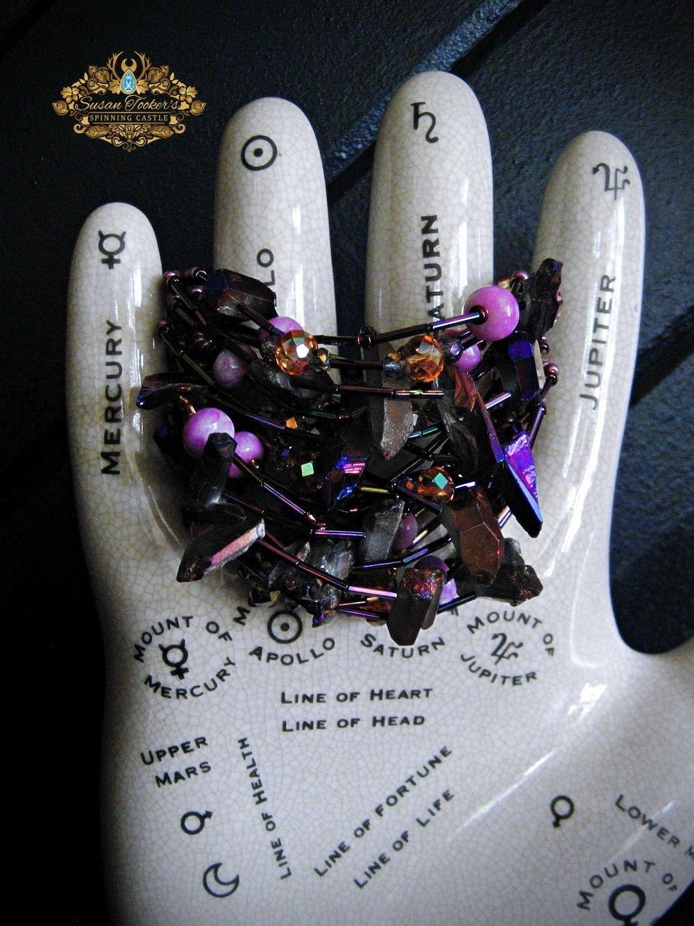 Image of CIRCE - Titanium Purple Aura Quartz Crystal Bracelet Cuff Statement Jewelry Greek Goddess Collection