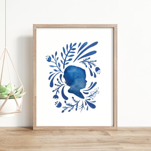 Image of Custom Silhouette Print with Delft Design: in Pink, Blue, or Gray