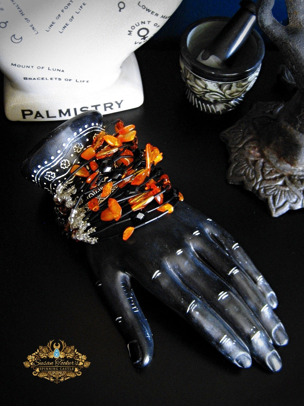 Image of DEMETER - Baltic Amber Crystal Bracelet Cuff Statement Jewelry Greek Goddess Collection