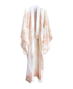 Image of Florlet silke kimono - cremefarvet med orange blomster og bolde