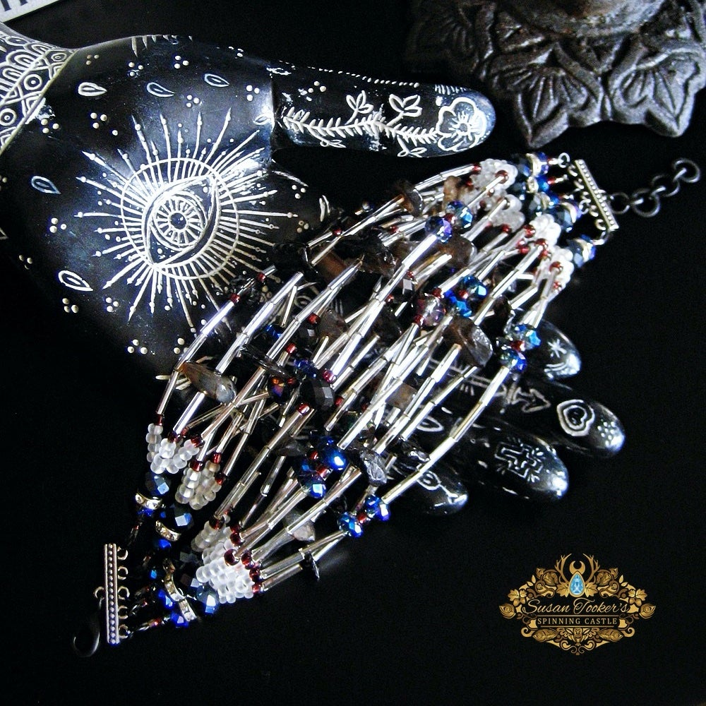 Image of HECATE - Black Agate Crystal Bracelet Cuff Statement Jewelry Greek Goddess Collection