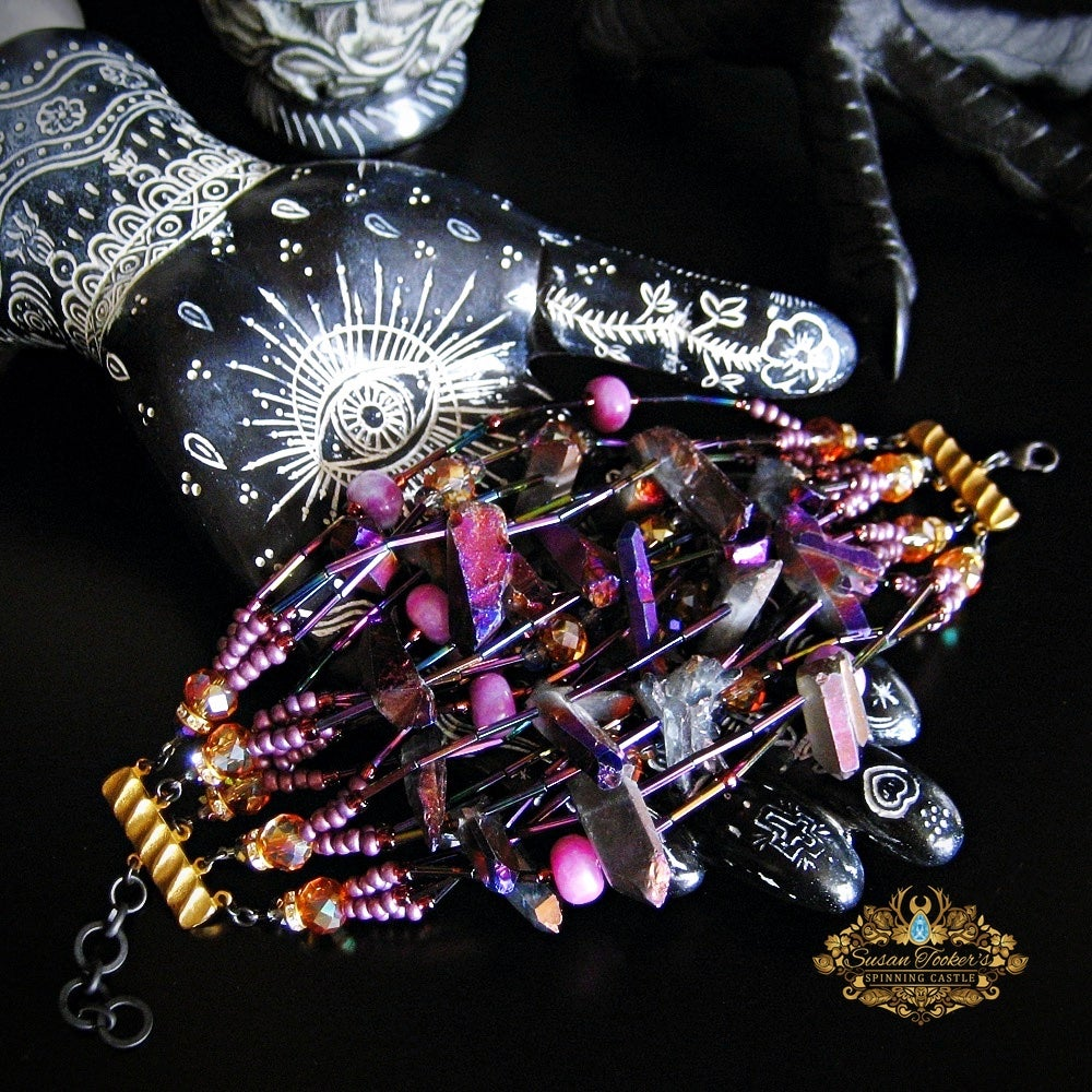 Image of CIRCE - Titanium Purple Aura Quartz Crystal Bracelet Cuff Statement Jewelry Greek Goddess Collection