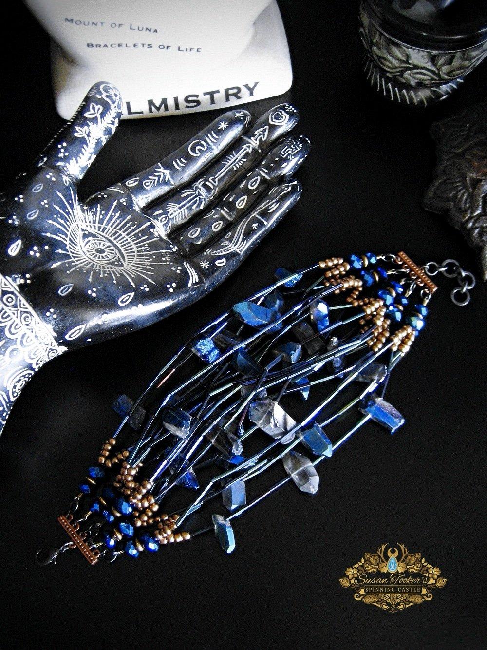 Image of NYX - Cobalt Blue Aura Quartz Bracelet Cuff Statement Jewelry Greek Goddess Collection