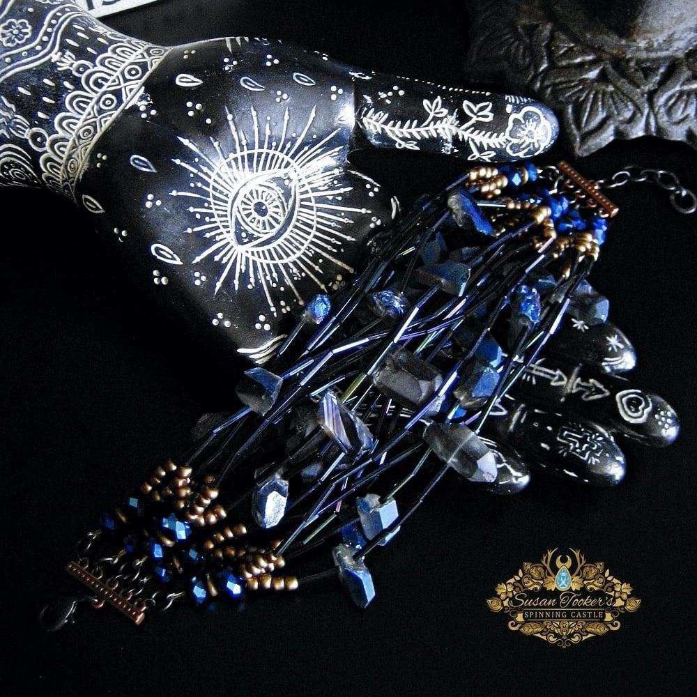 Cobalt Blue Aura Crystal Katana Sterling Silver Swords of Stone Pendant sos029