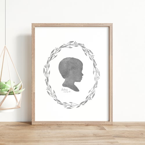 Image of Custom Silhouette Print with Laurel Wreath