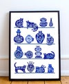 A3 Delft Cats and Vases Original Collage-Made to order