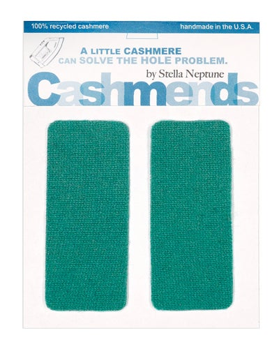Image of Iron-On Cashmere Elbow Patches - Light Teal
