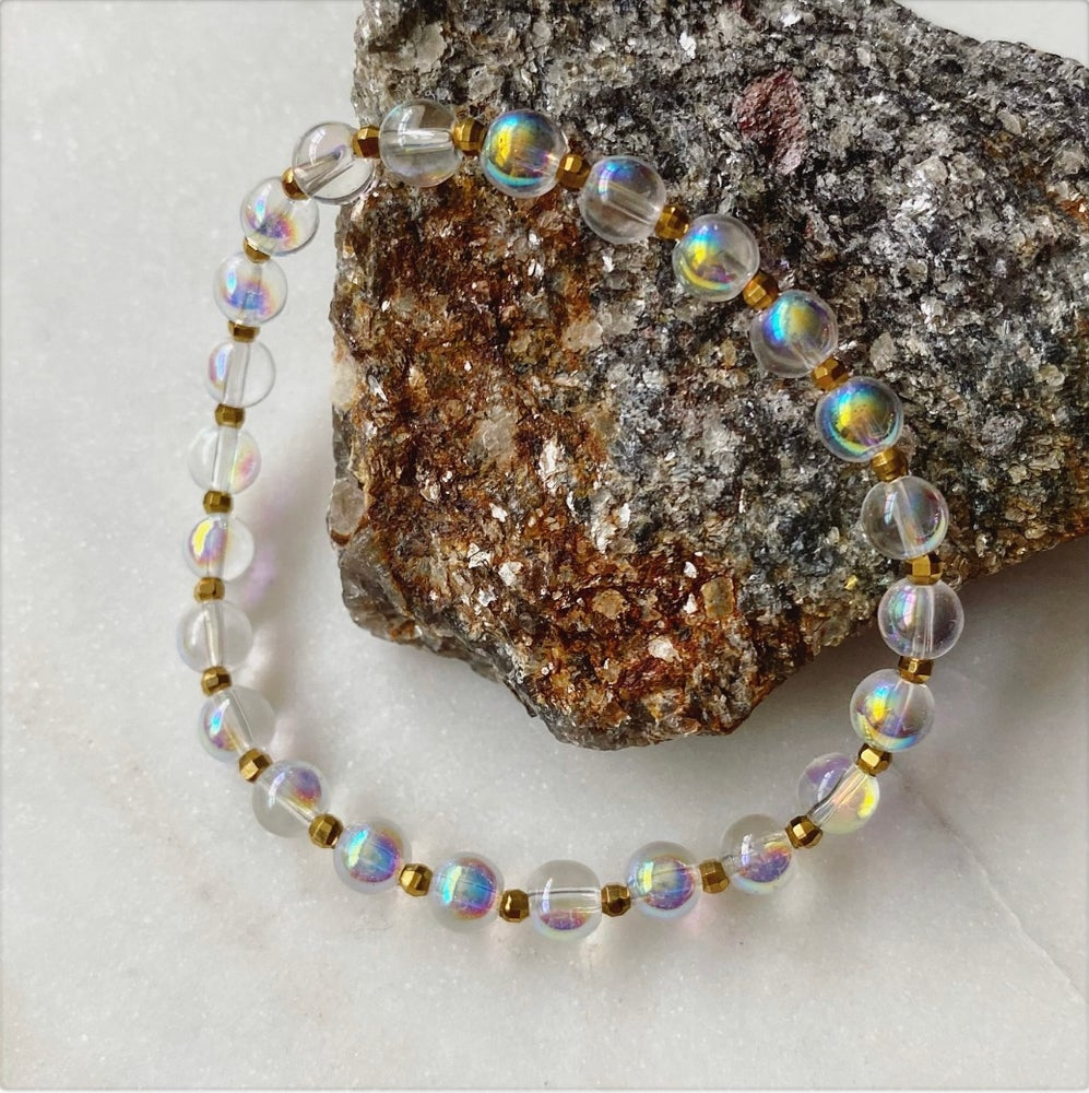 Image of Iridescent Crystal Bead Bracelet