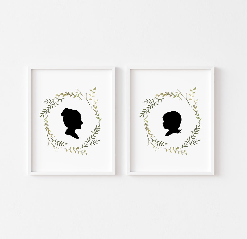 Image of NEW! Custom Silhouette Print with Early Spring Wreath