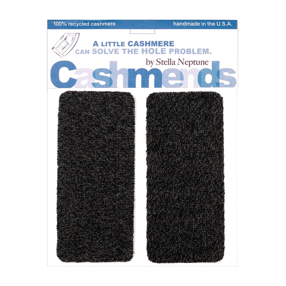 Image of Iron-On Cashmere Elbow Patches - Charcoal Gray