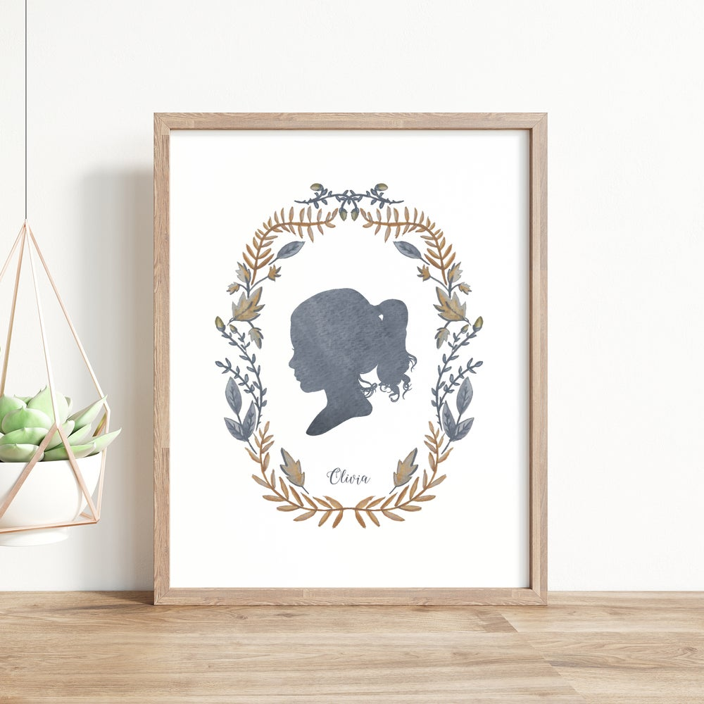 Image of Custom Silhouette Print with Thicket Wreath