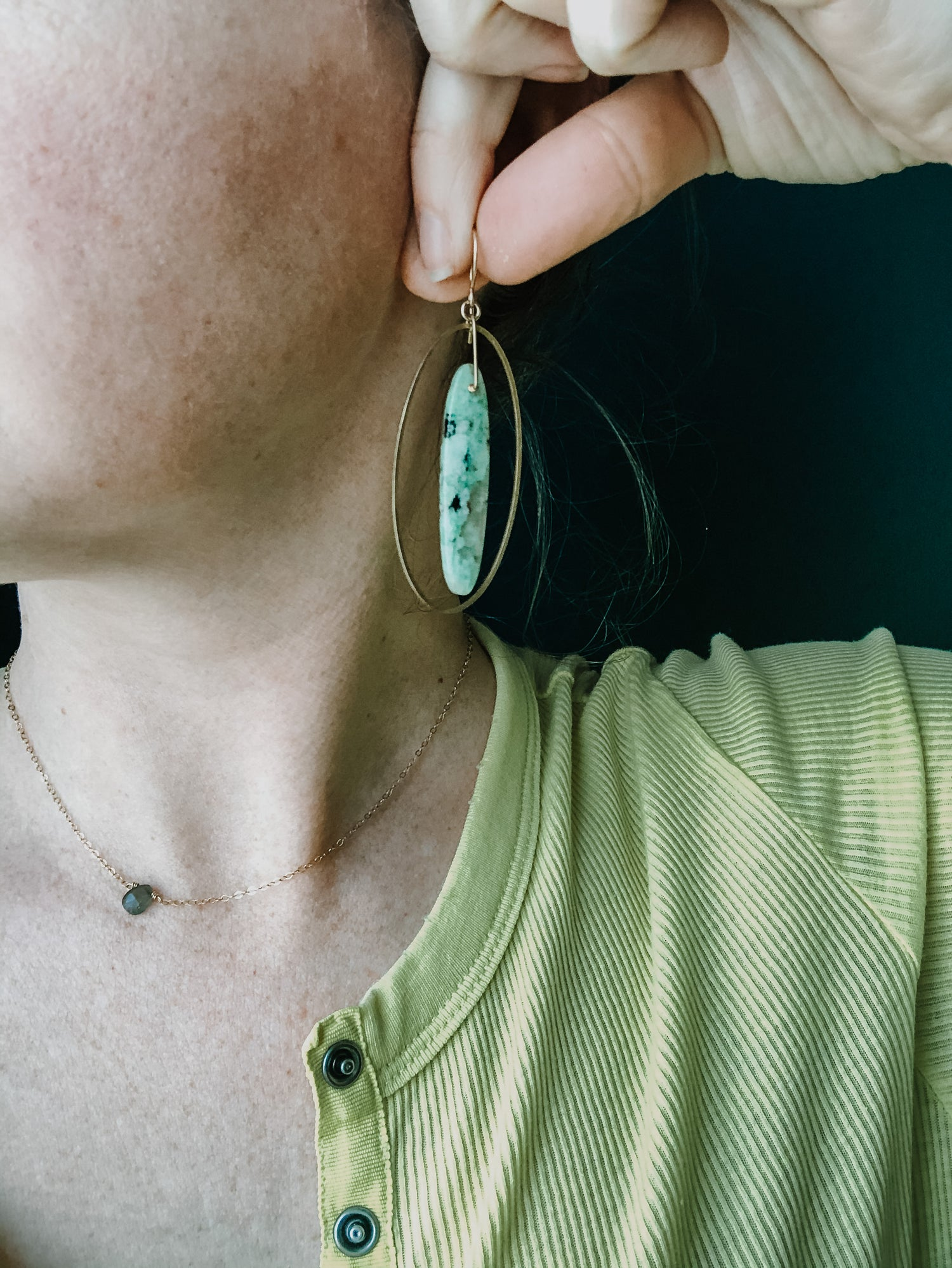 Image of Chrysocolla Oval Hoop Dangles