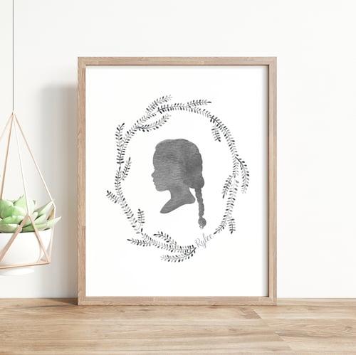 Image of Custom Silhouette Portrait with Wisteria Wreath