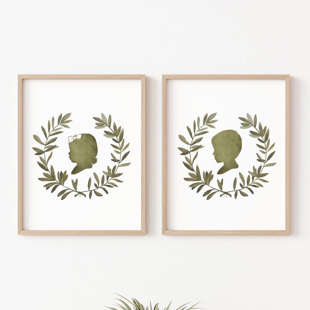 Image of Custom Silhouette Print with Olive Branch Wreath