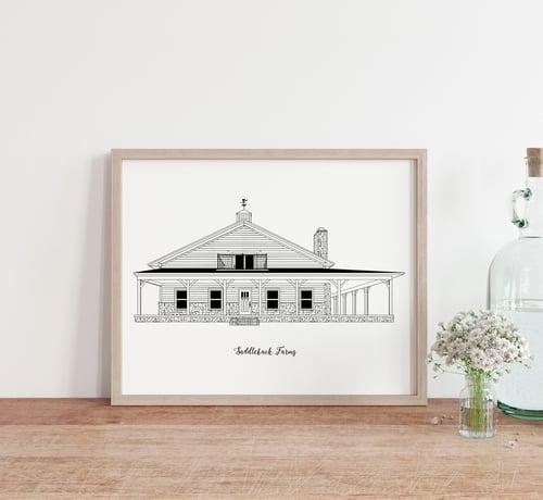 Image of Custom Digital House Portrait Silhouette