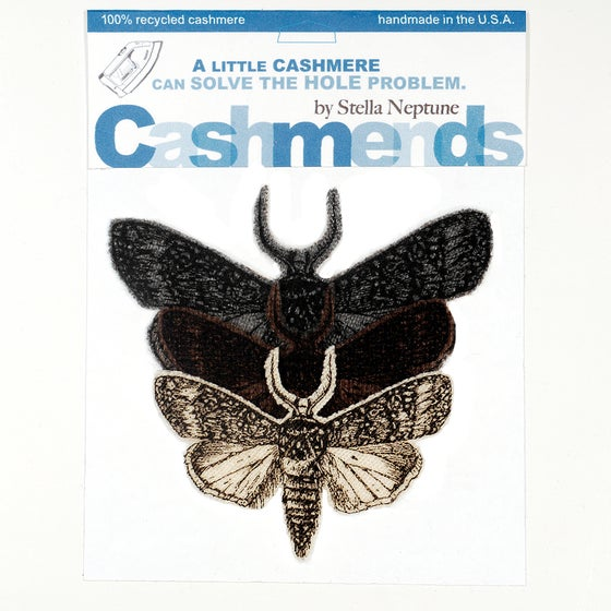 Image of Iron-on Cashmere Moths - Brown/Gray/Cream