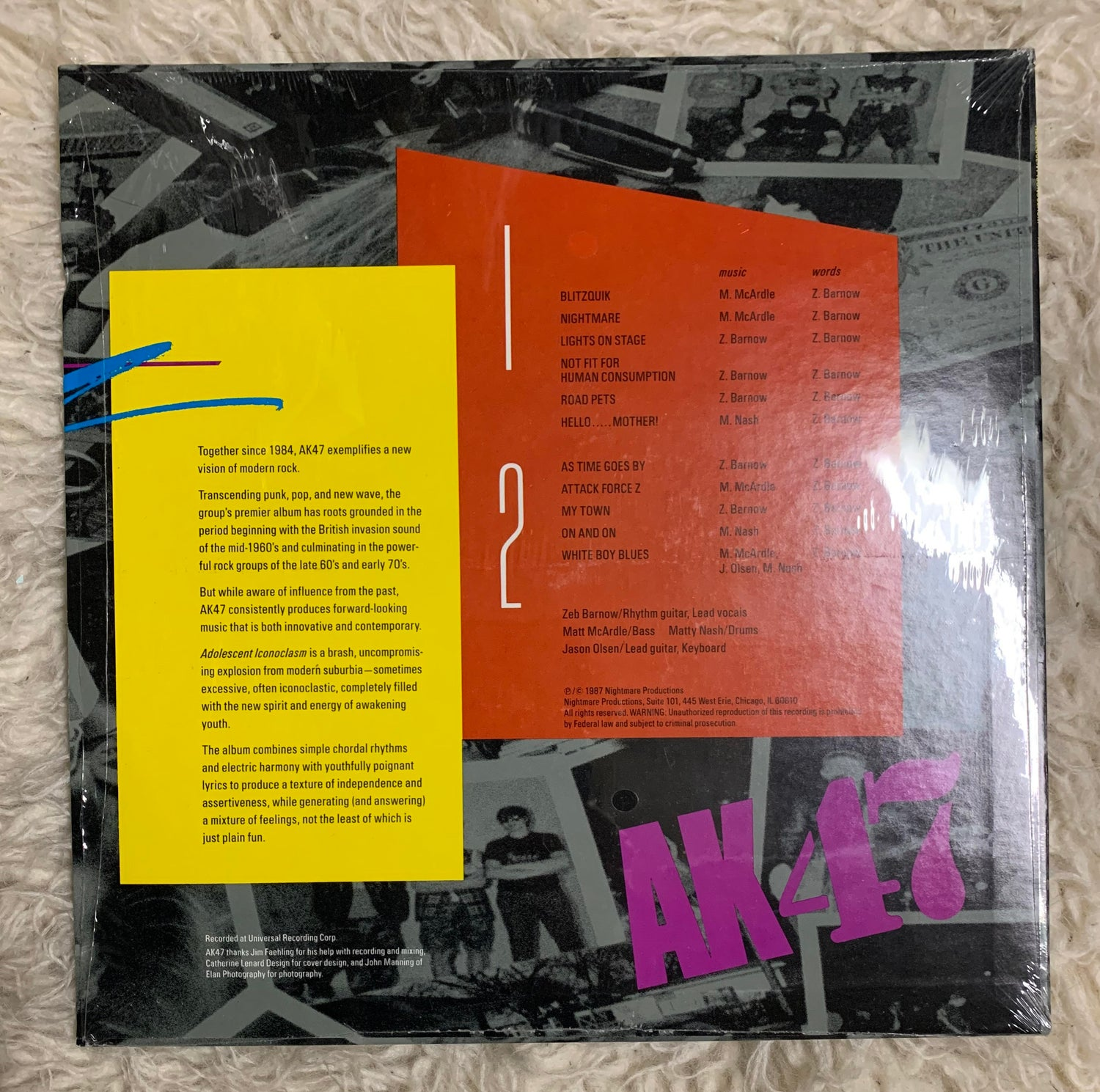 Image of AK47 - 'Adolescent Iconoclasm' LP (Nightmare Productions, 1987) [1987 Original]