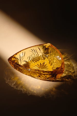 Image of Vintage Catchall / Ashtray - Floral Amber Triangle