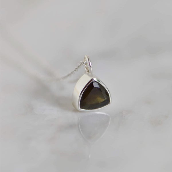 Image of Natural Dark Green Sapphire trillion cut silver necklace