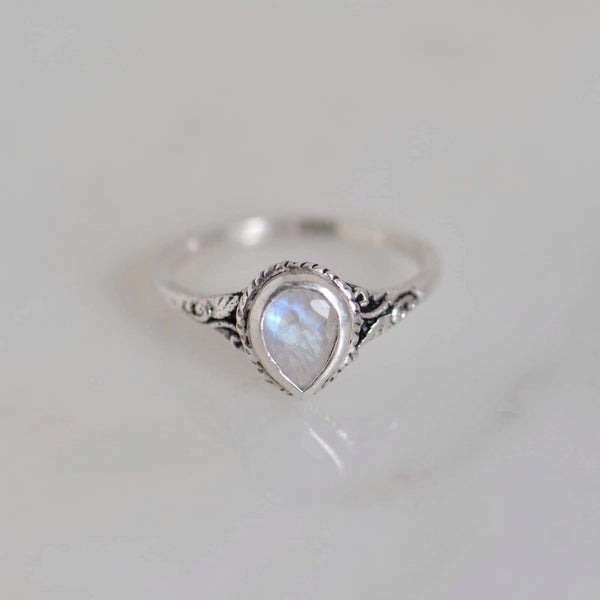 Image of Rainbow Moonstone pear cut vintage style silver ring