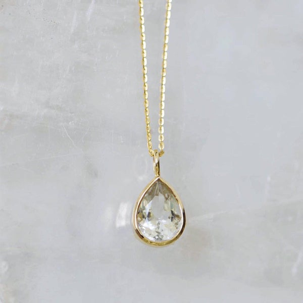 Image of Natural Aquamarine crystal pear cut 14k gold necklace