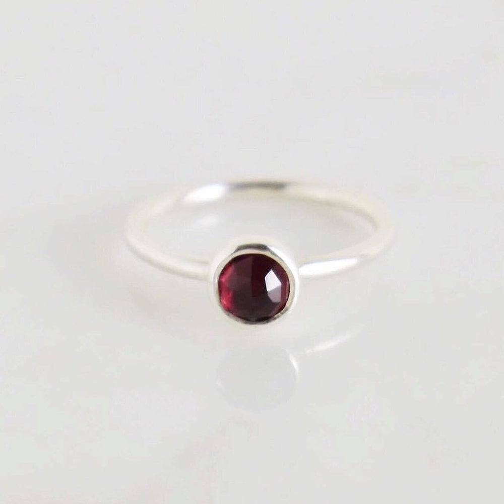 Image of Natural Red Garnet rose cut classic silver ring