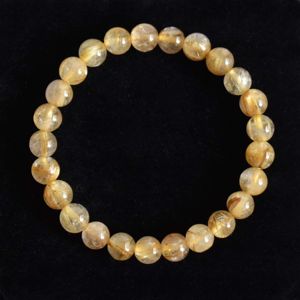 Image of Golden Rutilated Quartz (Tourmalined Quartz) spheres bracelet