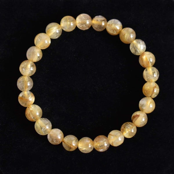 Image of Golden Rutilated Quartz (Tourmalined Quartz) spheres bracelet