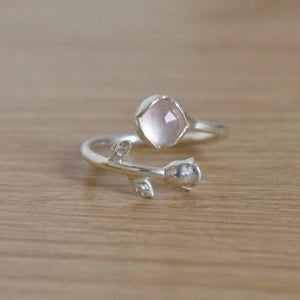 Image of ROSA x Rose Quartz rose cut silver ring