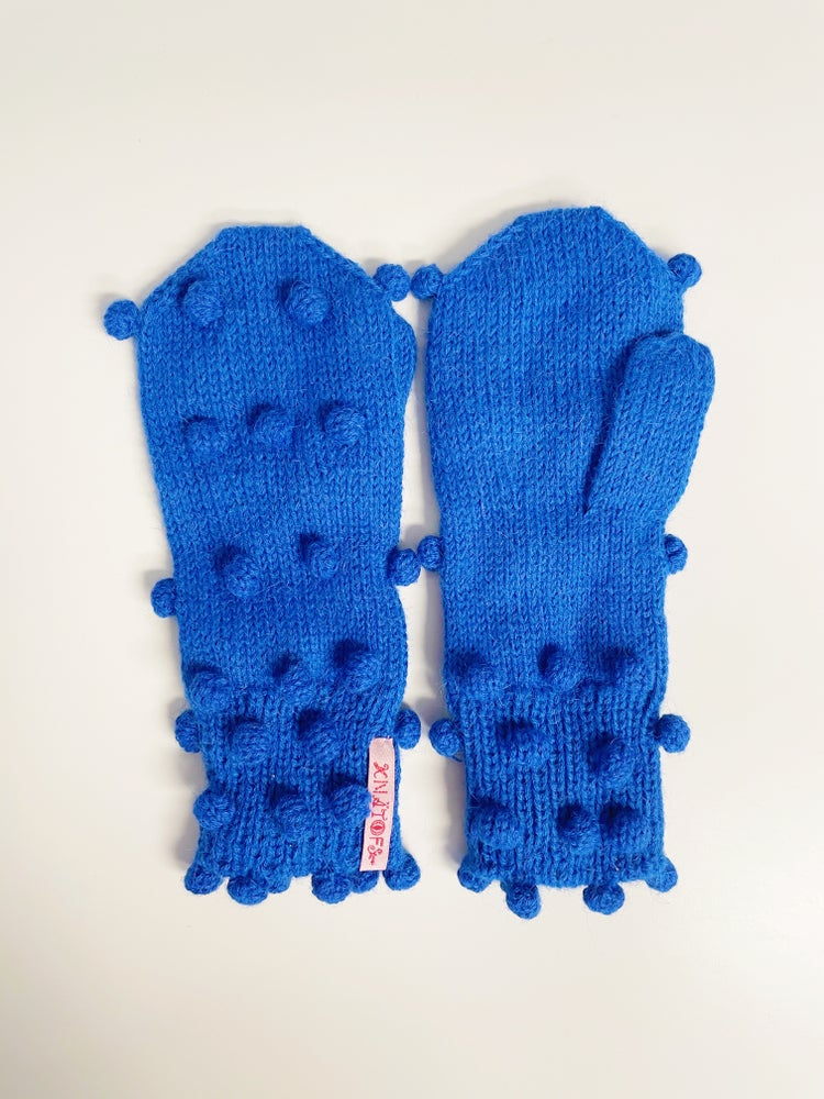 Image of Dots Mittens Electric blue