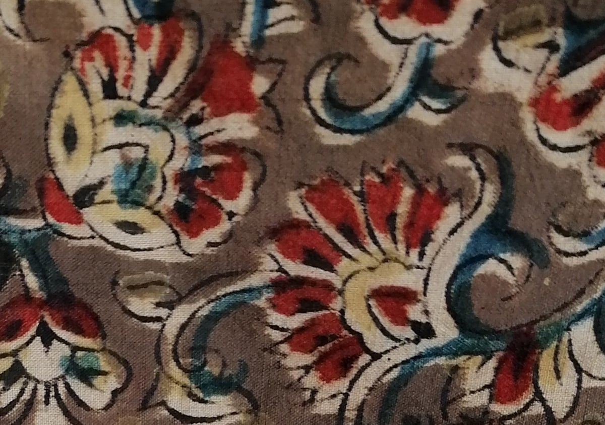 Image of Namasté fabric kalamkari kaki tourbillon de fleurs