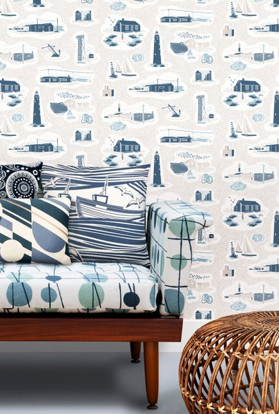 Image of Dungeness Wallpaper - Washed Denim