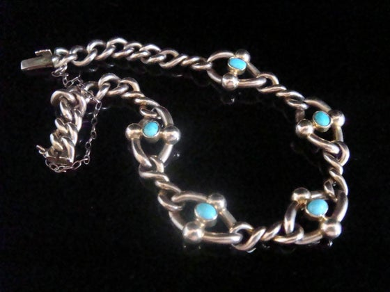 Image of EDWARDIAN 15CT ROSE GOLD TURQUOISE BRACELET 11.7G