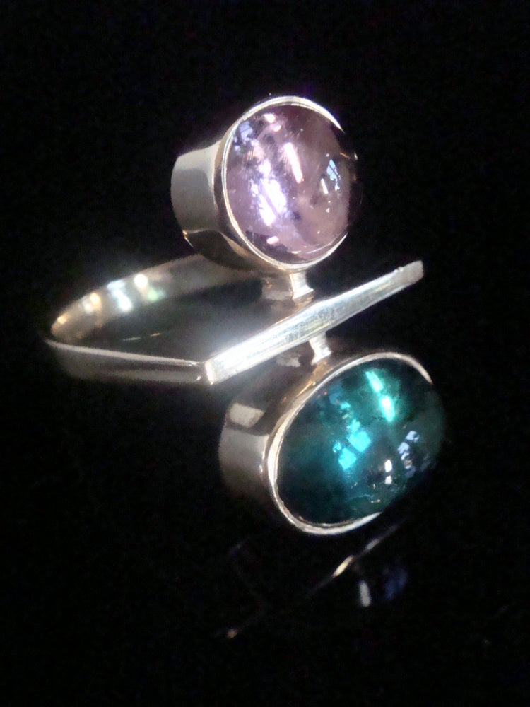 Image of RETRO 14CT NATURAL CABOCHON PINK AND GREEN TOURMALINE DANISH ? DESIGNER RING
