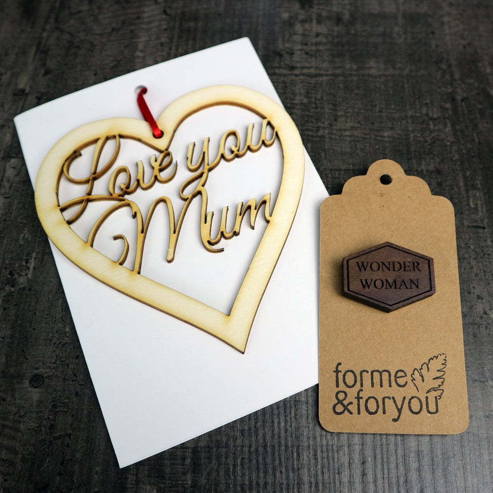 Image of Mother Day Gift Set - Card, Keepsake and Wonder Woman Brooch