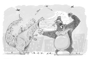 Godzilla v King Kong print