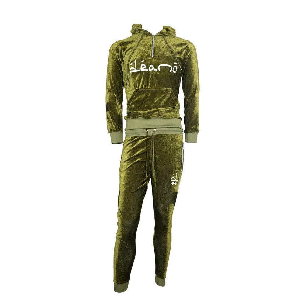 Image of Big Don Velour Sweatsuit Olive
